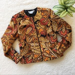 Maggy London Paisley Silk Blazer Size 6